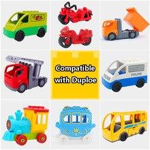Duży rozmiar akcesoria autobus miejski do ciężarówek statku powietrznego transportu ogień ciężarówka Building Block cegły Model kompatybilny Duploingl zabawki dla dzieci dla dzieci
