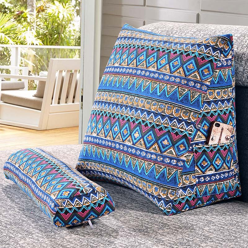 SunnyRain Cotton Linen Triangular Backrest Cushion For Sofa Cushions For Bed Rest Pillow Back Support Large SunnyRain Cotton Linen Triangular Backrest Cushion For Sofa Cushions For Bed Rest Pillow Back Support Large Size