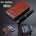 Para fundas Galaxy Win titular de la tarjeta caso de la cubierta para samsung galaxy Win i8552 caja del teléfono ultra fino de cuero del tirón de la carpeta cubierta