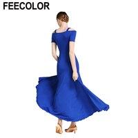 FEECOLOR 6pcs/lot Women Modern Waltz Tango Smooth Ballroom Dance Dress Standard Ballroom Dress X 2XL 5 COLOR U PICK