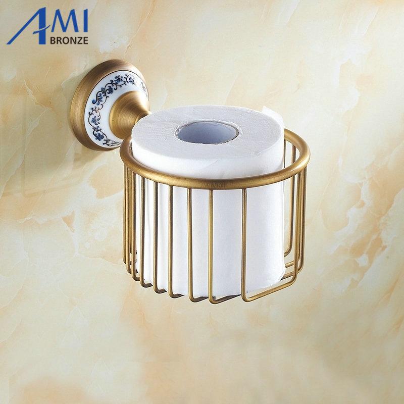 ФОТО AP1 Series Antique Brass Brush Porcelain Base Wall Mounted Bathroom Accessories Paper Holders Bathroom Basket