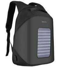 Baibu солнечной зарядки Для мужчин рюкзак Бизнес Для женщин Дорожные сумки Anti-Theft USB Charge 15.6 дюймов ноутбук рюкзак для подростка