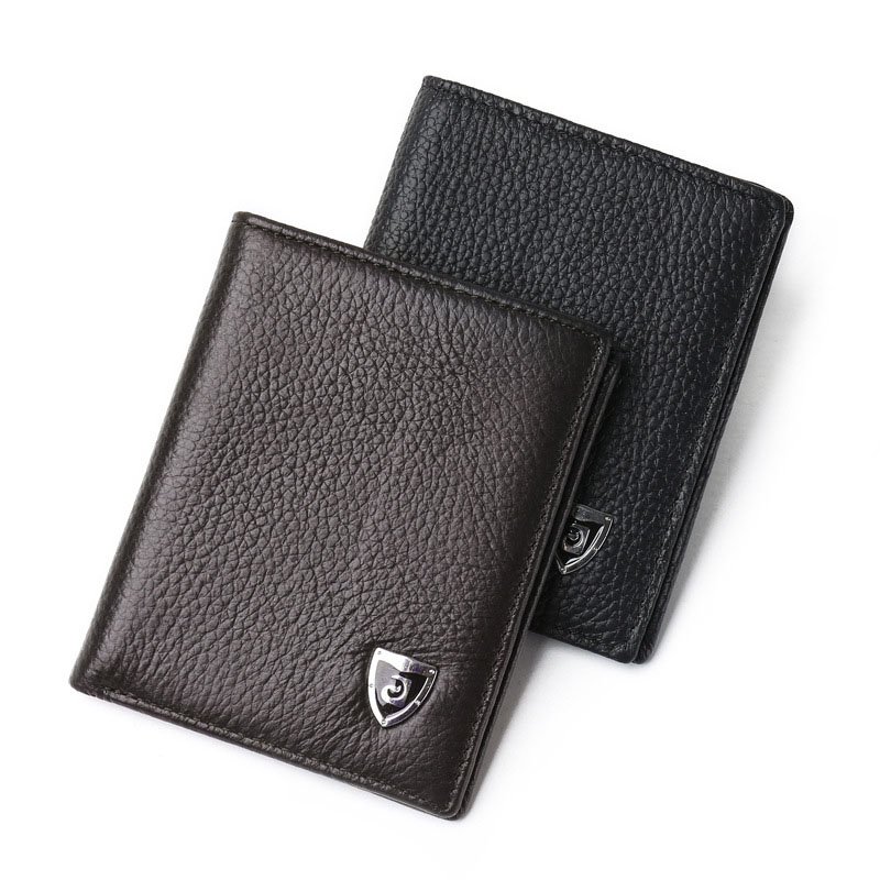 2017 Fashion Men Small Genuine Leather Purses Business Ultra-thin Wallet Mini Money Cards Holder Wallets Gifts Popular Purse