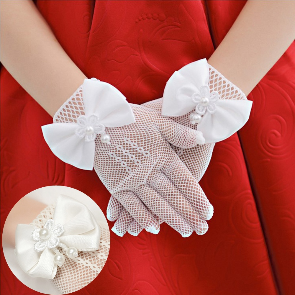 Kids Cream Lace Pearl Fishnet Gloves Communion Flower Girl Party Gloves Children's Glove High Elasticity Mesh Bow Gloves