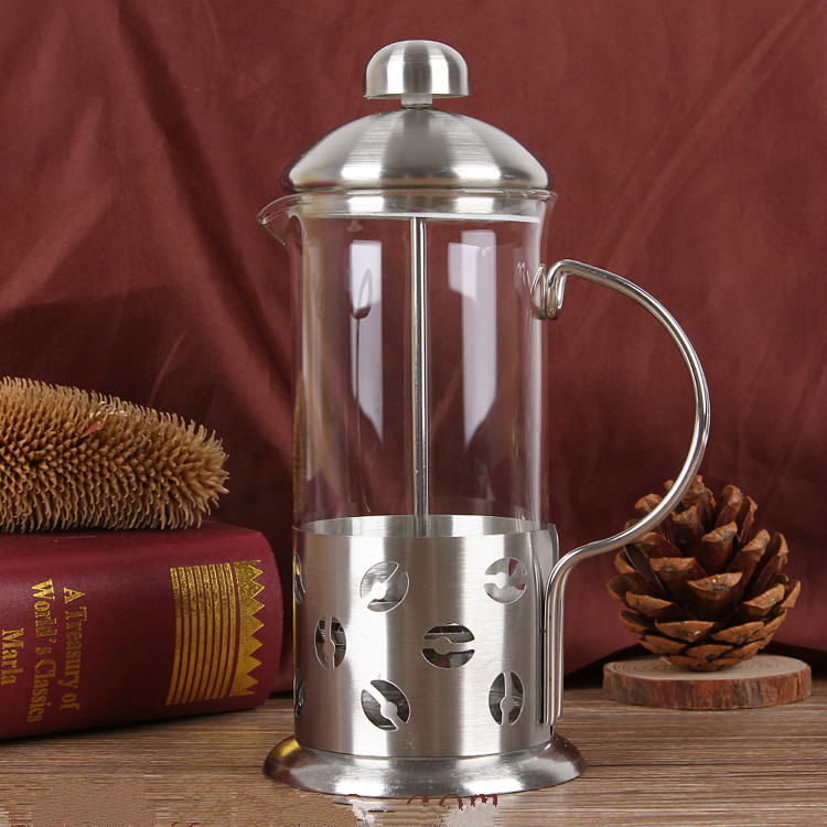 High End French Press Coffee Maker : 350ML stainless steel Household French Press pot High quality heat resistant glass Hand punch ...