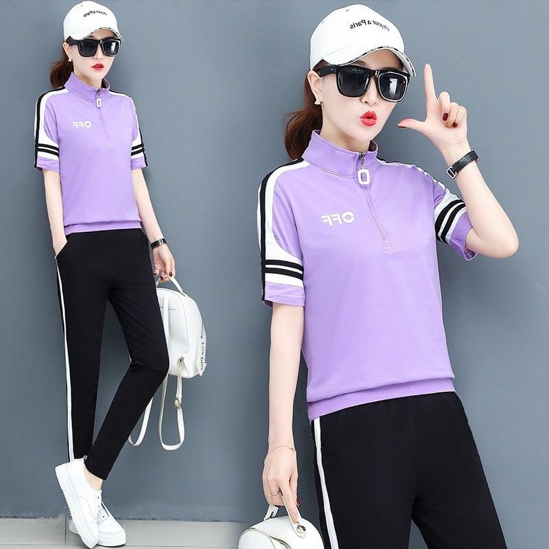 summer women sportswear tracksuit short sleeve T-shirt sweatshirt+pant running jogger exercise fitness workout casual sport suit 55