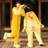 Winter Warm Soft Flannel Adult Cute Yellow Chick Pajamas Onesies Cosplay Animal Hooded Pyjama Sleepwear Cartoon