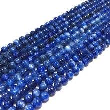 طبيعة اللون الأزرق Cyrstal 19 سنتيمتر/سلسلة طبيعة كيانيت حجر حبة 6 مللي متر 8 مللي متر 100% حقا اللون لا مصبوغ لا الاصطناعية