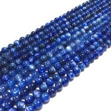 Natuur Kleur Blauw Cyrstal 19 Cm/String Natuur Kyanite Stone Bead 6 Mm 8 Mm 100% Echt Kleur Niet geverfd Geen Synthetische