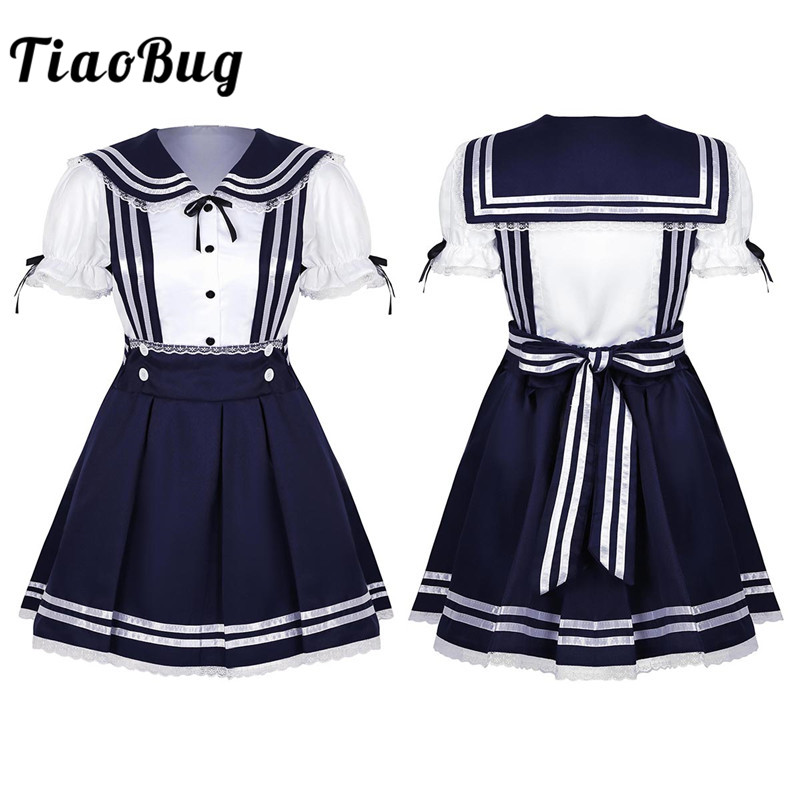 TiaoBug Women Girls Japanese High School Uniform Short Puff Sleeves Shirt with Pleated Suspender Skirt Sailor Dress Costume Set image