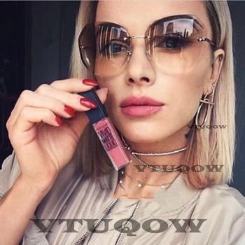 2019 Fashion Square women's sunglasses hue Vintage Retro Rimless Sun Glasses for women Female Ladies Sunglass gafas de sol mujer