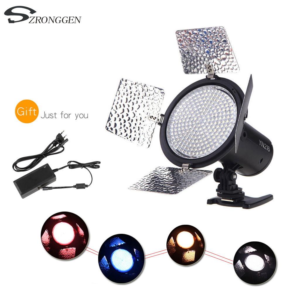 Yongnuo YN 216 YN216 LED Studio Video Light Photography and 4 color charts AC adapter for
