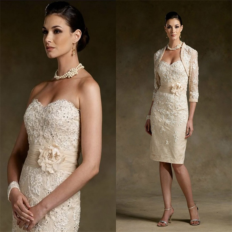 Mother Of The Bride Dresses With Jacket Knee Length Lace