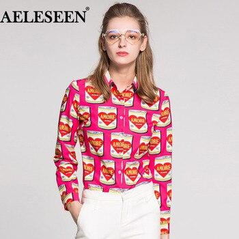 AELESEEN Female High Quality Pink Blouses Fashion Full Sleeve Luxury Tops 2018 Canned Print Turn-down Collar Runway Shirt
