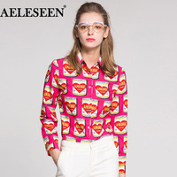 AELESEEN Female High Quality Pink Blouses Fashion Full Sleeve Luxury Tops 2018 Canned Print Turn down Collar Runway Shirt