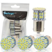 Safego 4 pcs 1156 BA15S LED مصابيح سيارة P21W بدوره مصباح إشارة 7506 50 SMD 3014 مصباح أبيض 6000 K 12 V عكس أضواء أضواء الفرامل