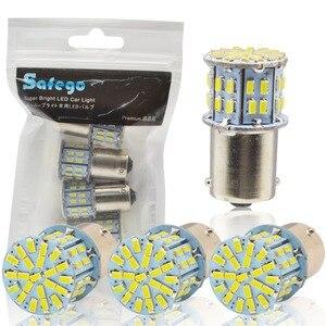 Image 1 - Safego 4 stücke 1156 BA15S LED Auto Lampen P21W Blinker Licht 7506 50 SMD 3014 Weiß Lampe 6000 K 12 V rücklichter Bremsleuchten