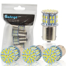 Safego 4pcs 1156 BA15S LED Car Bulbs P21W Turn Signal Light 7506 50 SMD 3014 White Lamp 6000K 12V Reverse lights Brake Lights