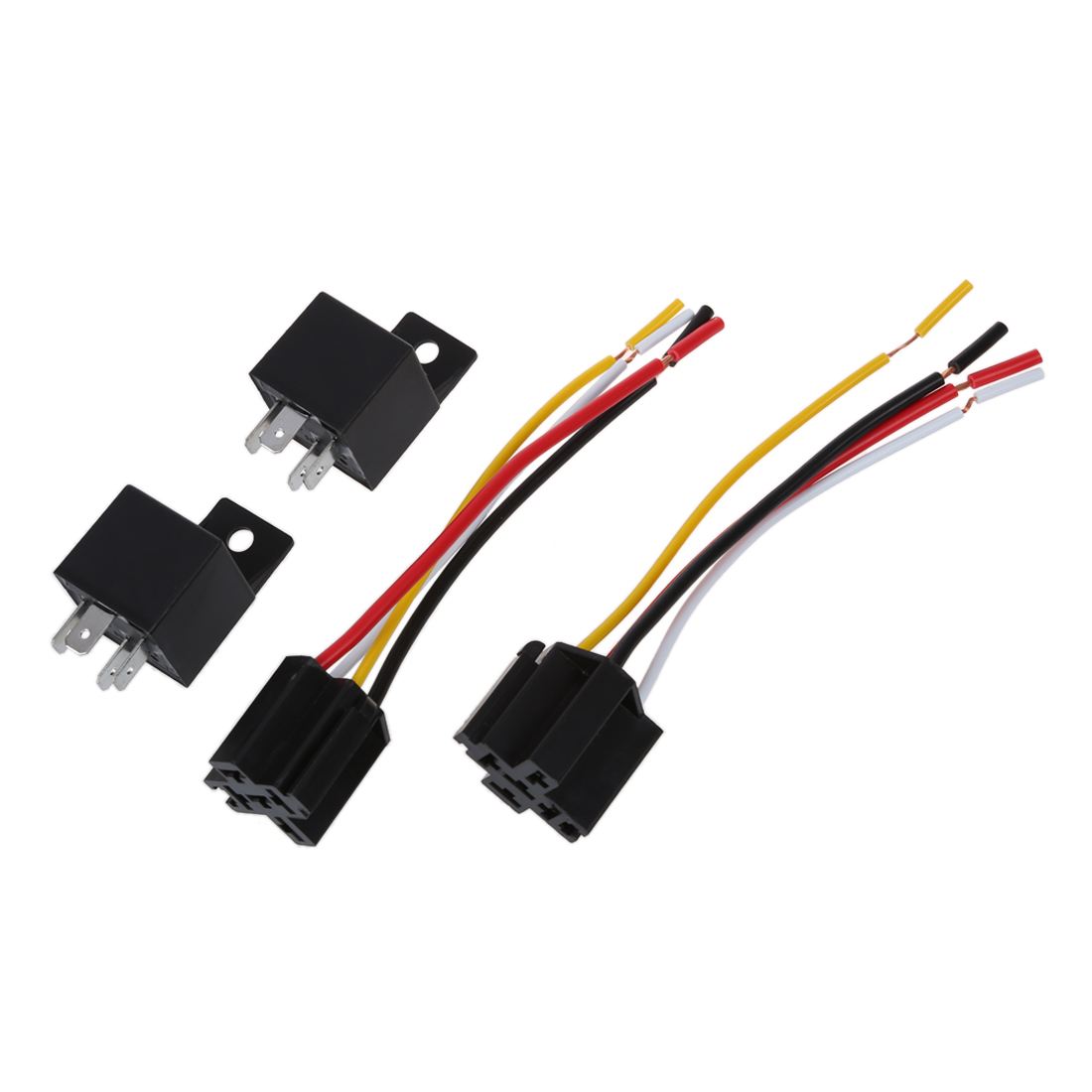 2 X Car Relay Automotive Relay 12v 40a 4 Pin Wire With 5