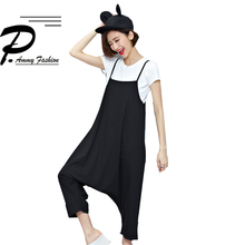 Fashion Oversized Casual Low Drop Crotch Harem Loose Jumpsuits Summer strap Overalls Trousers European Streetwear Rompers