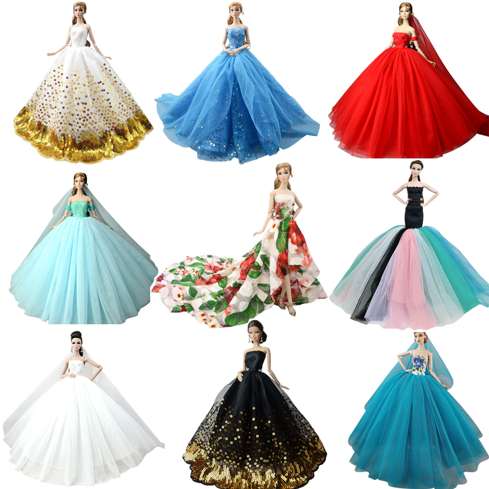 NK  Doll Dress High Quality Handmade Long Tail Evening Gown Clothes Lace Wedding Dress +Veil For Barbie Doll Best Gift JJ