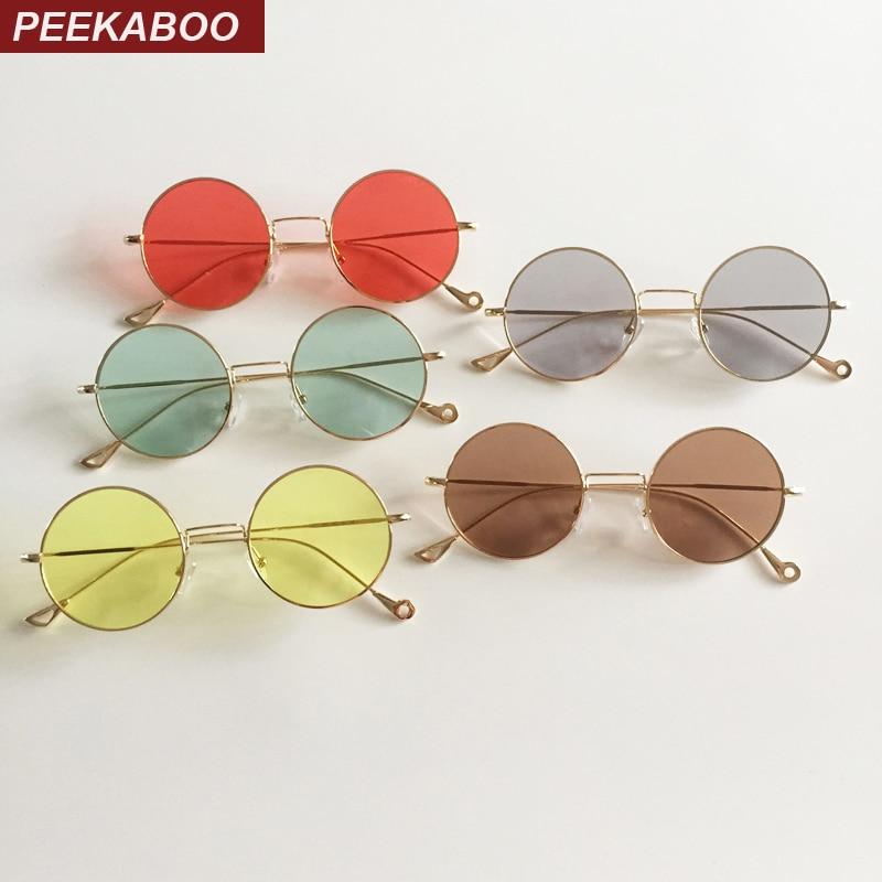 Peekaboo vintage apaļš saulesbrilles vīriešiem retro sieviete vasaras skaidrs lēcas saulesbrilles ar sarkanām lēcām dzelteni zaļš uv400