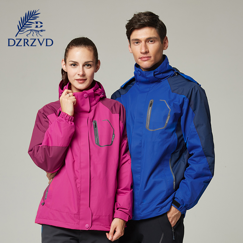 Outdoor Winter Ski Hiking Waterproof Jacket Women Men Two-Piece Large Size Fleece Warm Jacket Windproof Hood Sport Jacket 13077A men and women winter ski snowboarding climbing hiking trekking windproof waterproof warm hooded jacket coat outwear s m l xl