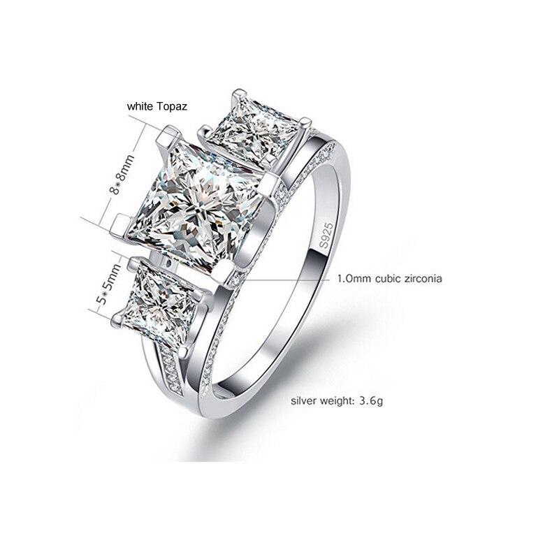 bcb559522af9 STOCK Uloveido DE BODA Topacio Azul anillos de plata de ley 925 señora  certificado 4