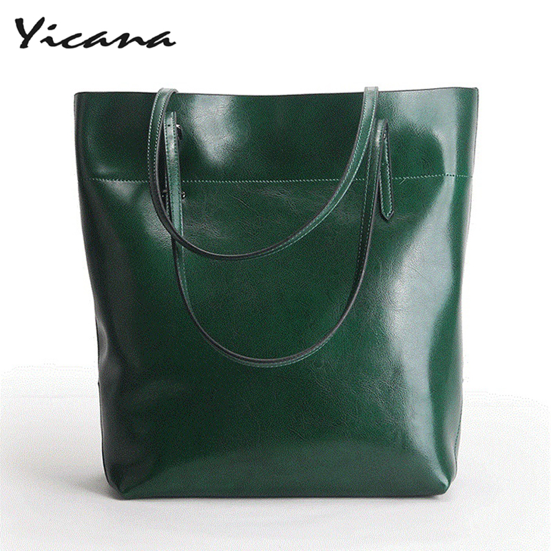 все цены на Yicana 2018 Spring/Summer 100% Cow Leather women's handbags simple large-capacity waxing cowhide shopping bags shoulder bags