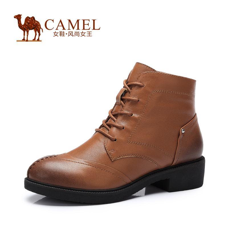 Camel New England fashion leather shoes women lace up  2015  new winter autumn  women's boots A53132612 2015 winter autumn new lace cross straps