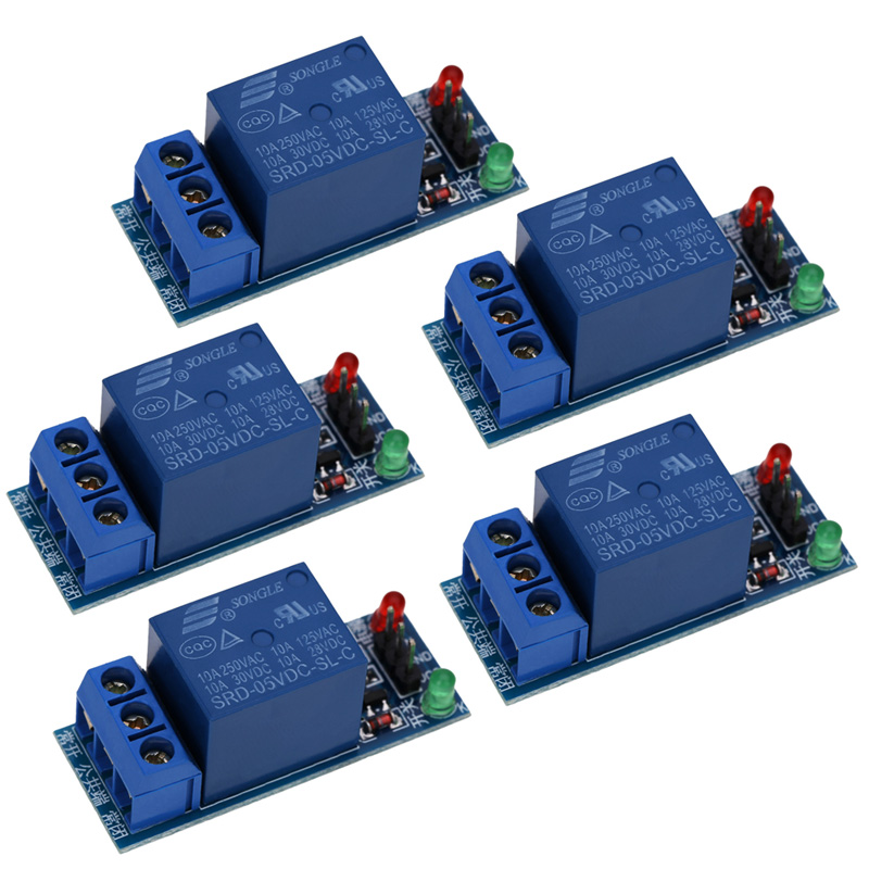 5Pcs/Lot 1 Channel 5V Relay Module Shield with power and relay action indication for Arduino 1280 2560 ARM PIC AVR DSP 5v 2 channel ir relay shield expansion board module for arduino with infrared remote controller