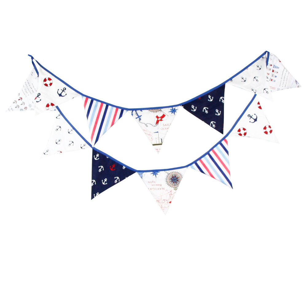 1pcs 3.2M Children Birthday Party Sailor Theme Decorate Cotton Bunting Banners Baby Shower Party Decor Pennant Home Decor Flags
