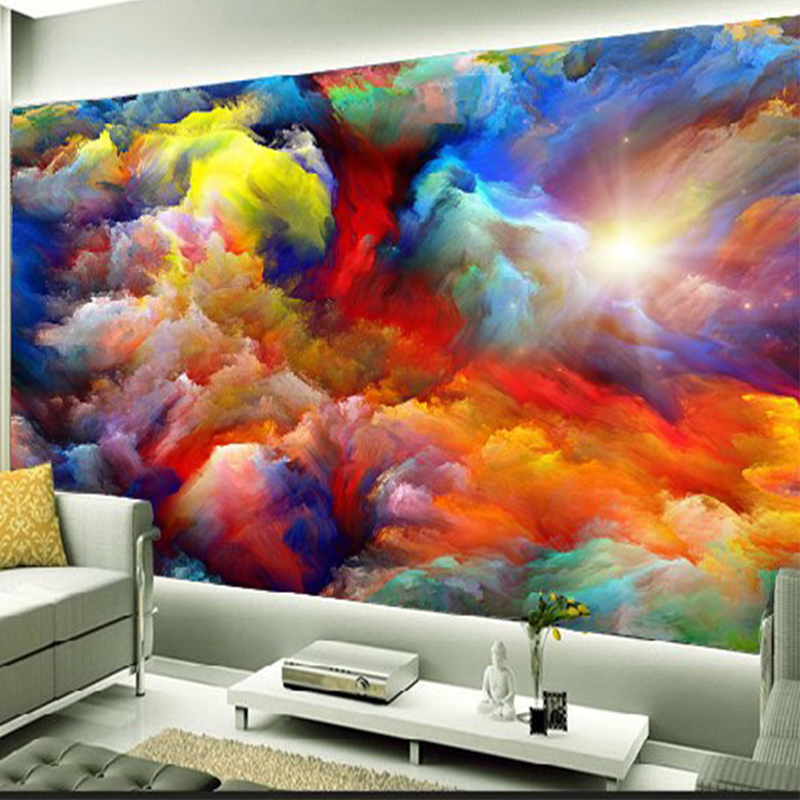 Colorful Room Decor Paint: Modern Abstract Art Colorful Clouds Oil Painting Photo