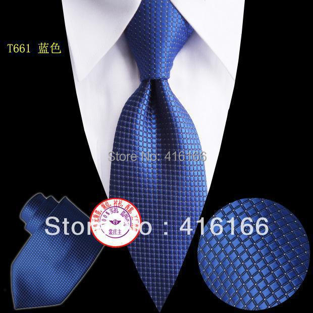 T660 Blue formal dress Christmas gift 100% Silk Classic Man's Tie Necktie 1pc/lot - Bo Shop store
