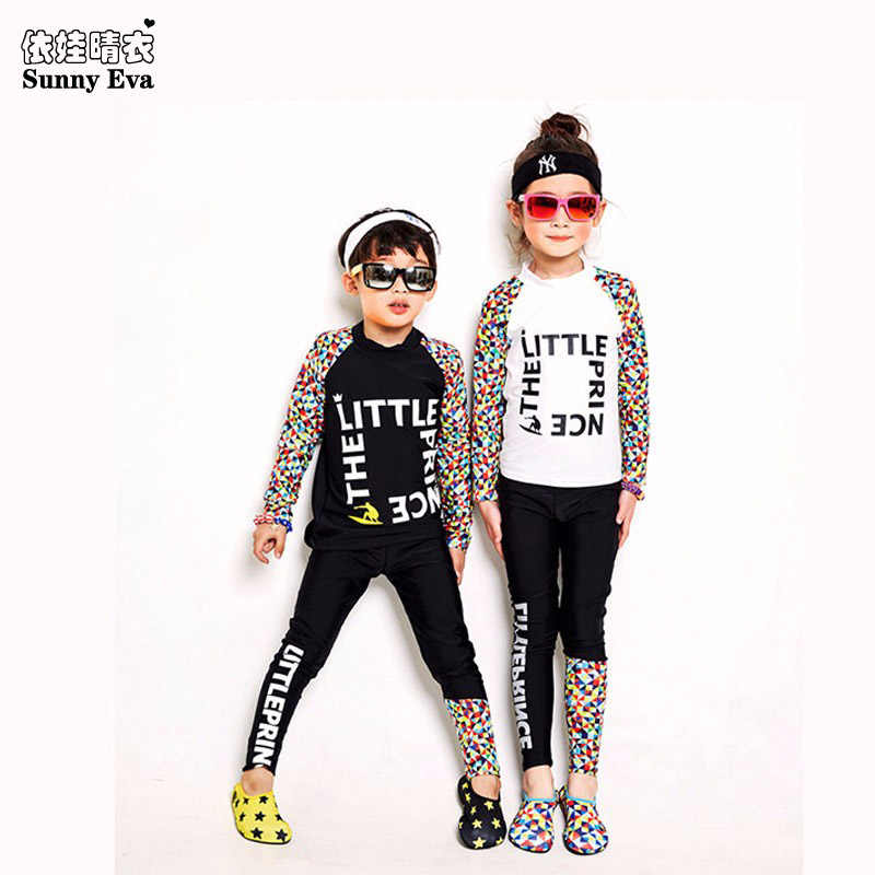 892ffeabc6f sunny eva boys girls two Piece Swimsuit sports long sleeve swimming suit  with leggings white black