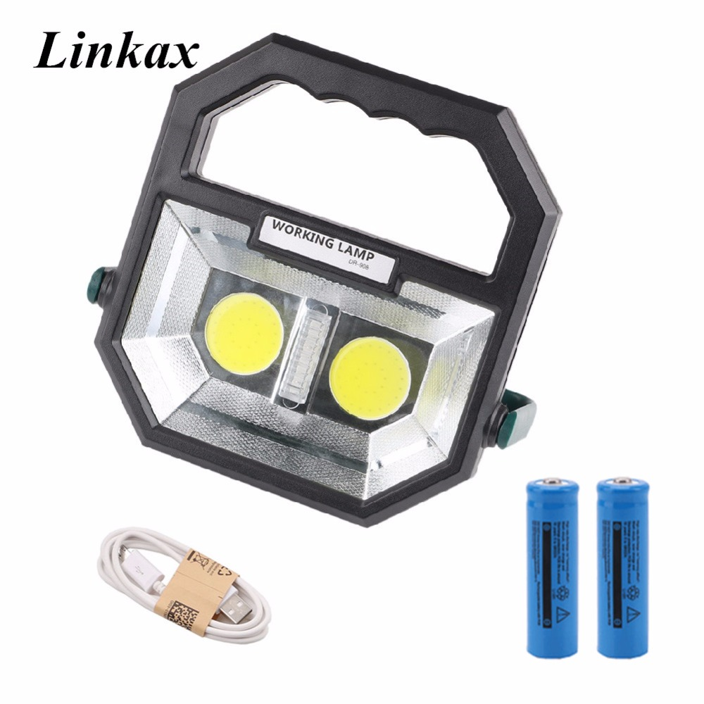 Rechargeable Portable Lantern Camping Light COB Work Light Lamp Rescue Beacon With 18650 Battery USB Cable for Outdoor Camping