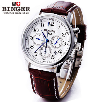 ФОТО Winner Business unique Mechanical fully automatic watches self wind brown leather strap calendar cool Military watch man gifts