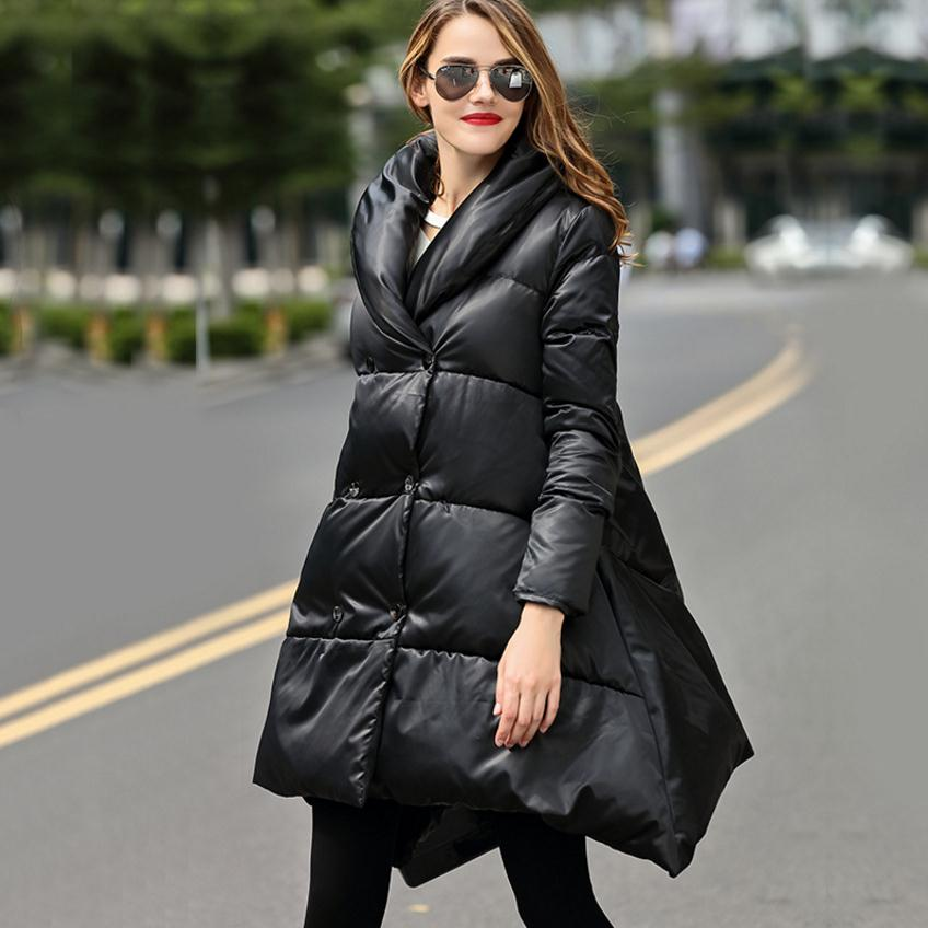 2018 new fashion brand 90% White duck down warm parkas coat double breasted stand collar long down coat jacket wj1388