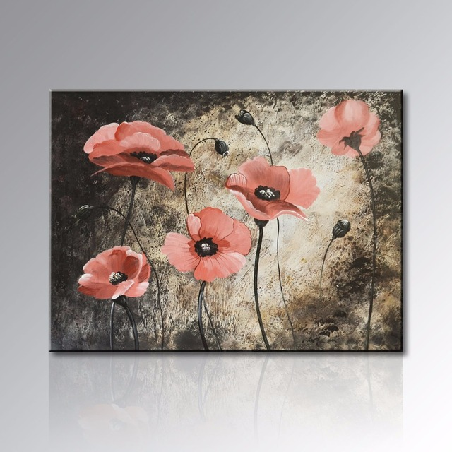 Framed Hand Painted Realistic Red Flower Oil Painting on Canvas ...