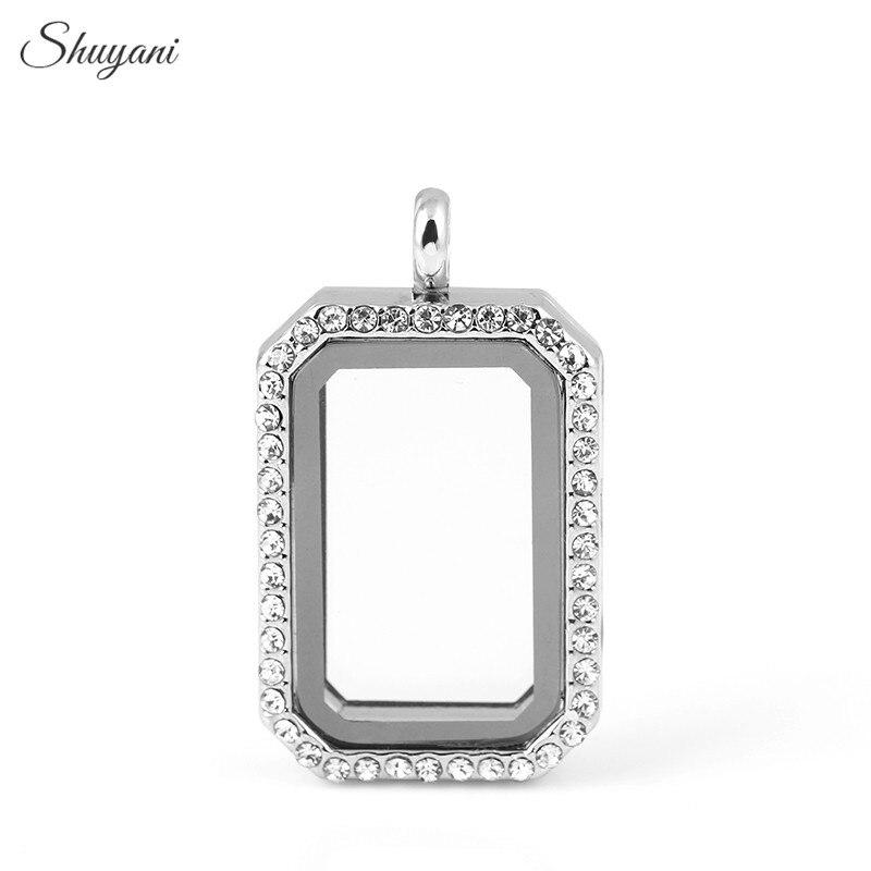 Shuyani сплав 4 цвета прямоугольник плавающей медальон с кристалла открываться Магнитная Стекло плавающей медальон кулон для Талисманы