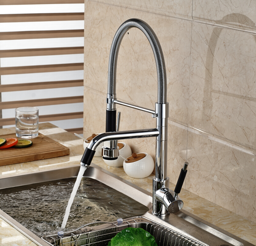 Luxury Color Changing LED Light Kitchen Sink Faucet Deck Mount Two ...