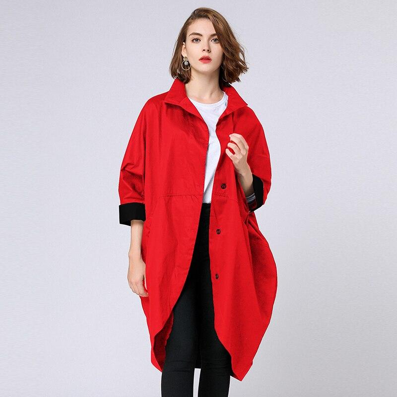 D'hiver Lâche Queue Black De Coréenne Taille D'aronde Pour Femme 2018 La red Noir Plus Rouge Manteau Outwear Vêtements Manteaux Femmes Tranchée Oa0Hvw