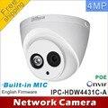 Frete grátis dahua h2.65 4mp ipc-hdw4431c-a microfone embutido hd ir 30 m câmera ip network camera cctv dome suporte para câmera poe hdw4431c-a