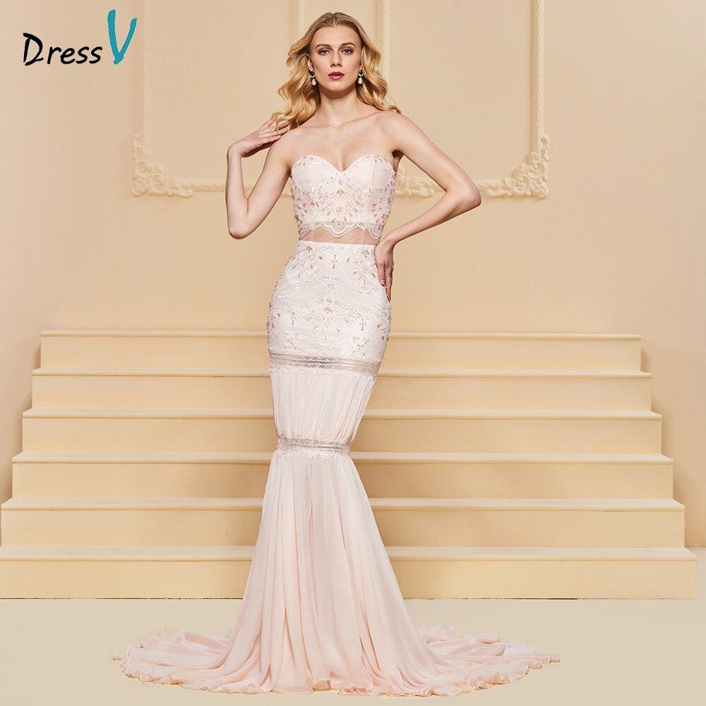 Dressv Pink Evening Dress Mermaid Sweetheart Neck Elegant Lace Floor-length Wedding Party Formal Dress Evening Dresses
