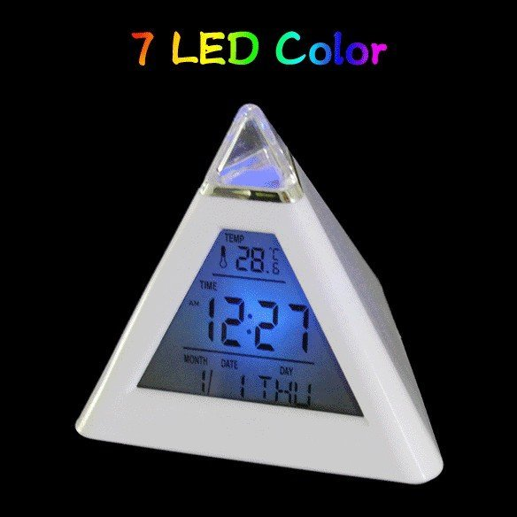 7 Color LED Pyramid Digital LCD Alarm Clock Thermometer Portable Color-Change free shiping