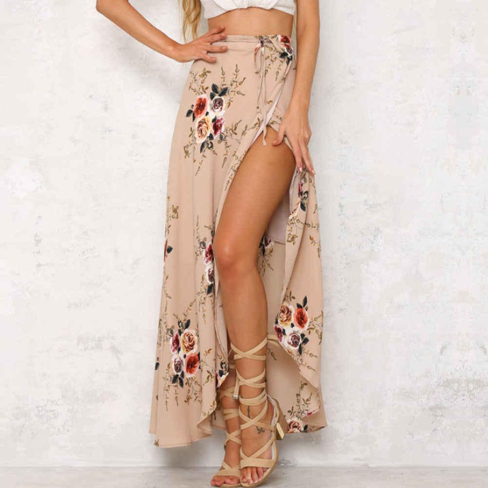 חדש אופנה נשים ארוכה מקסי חצאית גבוהה מותן תחרה עד פרחוני הדפסת קיץ קפלים Boho וחוף חצאית