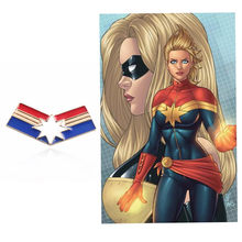 Takerlama Ms.Captain Marvel Carol Danvers Avengers Cosplay Badge Costume Brooches Halloween Cosplay Pin Accessories Props Gift(China)