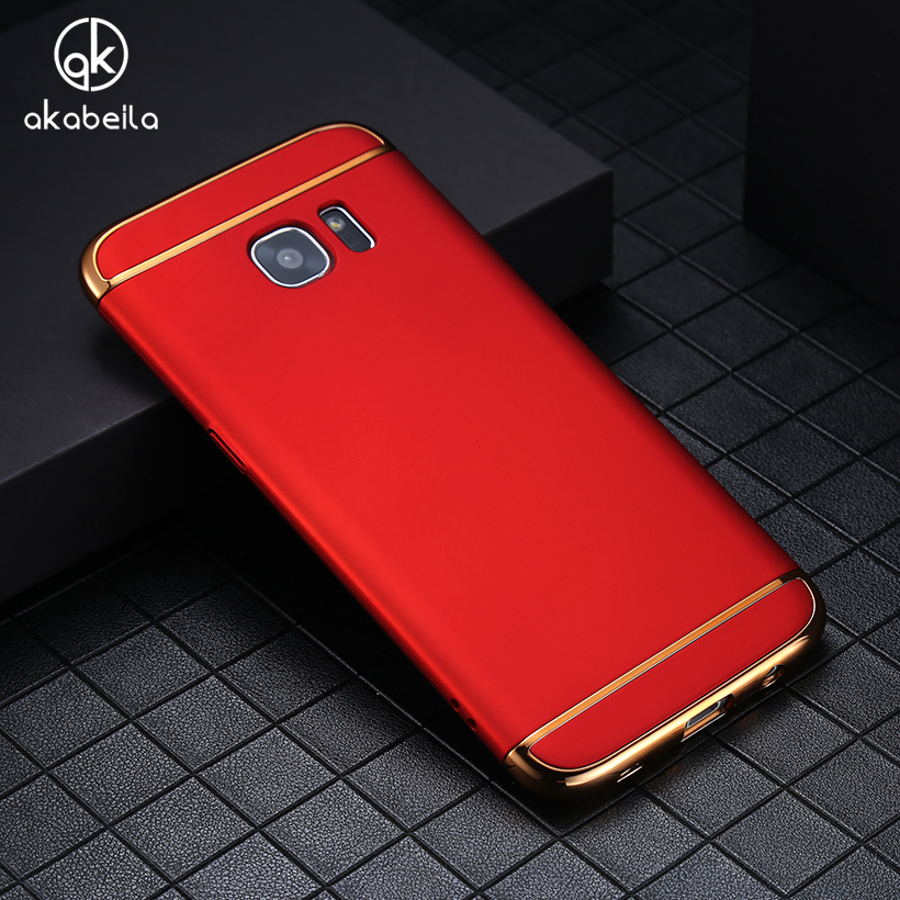 AKABEILA Plating Plastic Case Cover For Samsung Galaxy S7 G930F G930FD G930W8 G930 G9300 SM-G930A SM-G930R4 Covers Matte