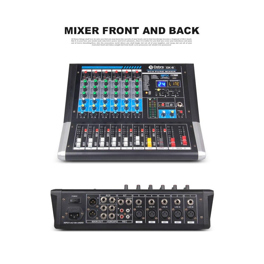 DX 6 Audio Debra table de mixage Audio 6 canaux contrôleur dj carte son avec effet 24 DSP prise USB Bluetooth XLR entrée Aux - 2