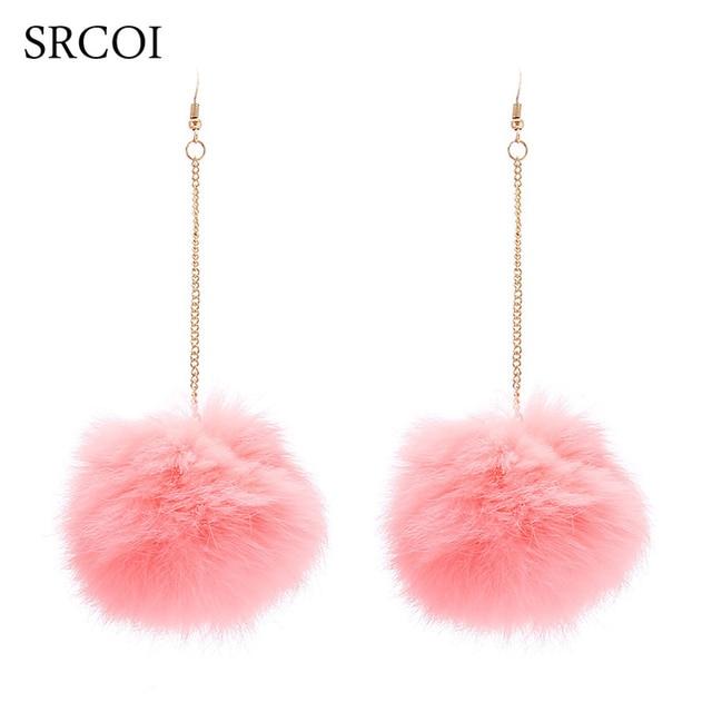Fashion Large Fur Pom Pom Balls Long Fashion Earrings For Women Sale Rabbit Pompon Christmas Earrings Drops Pendant D'oreille